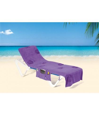 ITSA strandlaken met omslag en diverse opberg vakjes - Paars