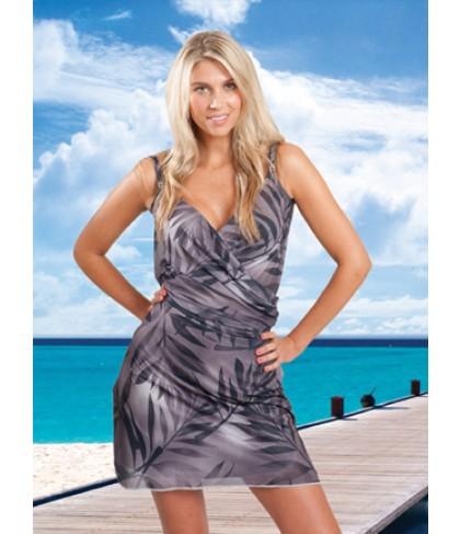ITSA WRAP wikkel strand jurkje - zwart palm